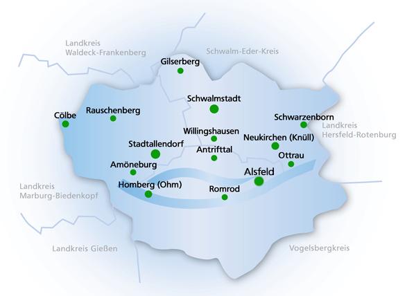 Übersicht Gemeinden mit Verlinkungen der Bauplätze in unserem Geschäftsgebiert